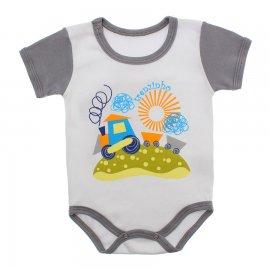 Imagem - Body Bebê Manga Curta Colorida Estampado - 9962-body-mc-trem-cinza