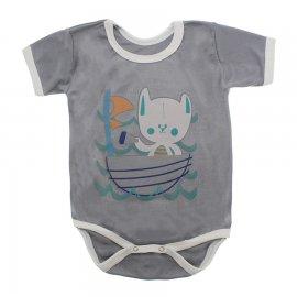 Imagem - Body Bebê Manga Curta Estampado Lapuko - 10152-body-mc-barco-cinza
