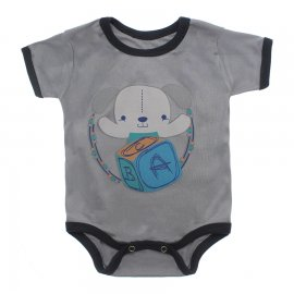 Imagem - Body Bebê Manga Curta Estampado Lapuko - 10152-body-mc-cubo-cinza