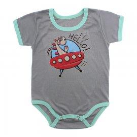 Imagem - Body Bebê Manga Curta Estampado Lapuko - 10152-body-mc-hello-cinza-vies-verd