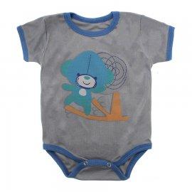 Imagem - Body Bebê Manga Curta Estampado Lapuko - 10152-body-mc-macaco-cinza