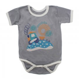 Imagem - Body Bebê Manga Curta Estampado Lapuko - 10152-body-mc-trem-cinza