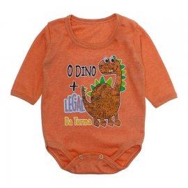 Imagem - Body Bebê Manga Longa Lapuko - 10190-body-ml-rib-dino-laranja