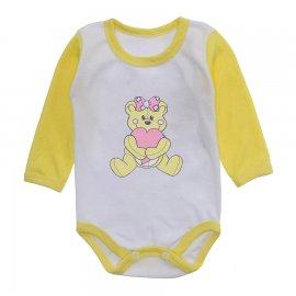 Imagem - Body Bebê Menina Estampado Lapuko - 10237-body-ml-ursinha-patch-amarelo