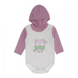 Imagem - Body com Capuz Feminino Estampado  - 10043-body-capuz-coruja-rosa