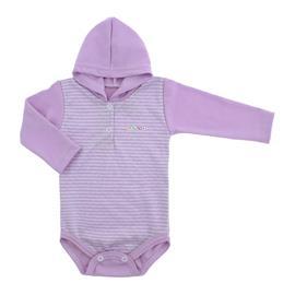 Imagem - Body de Bebê Listrado Manga Longa com Capuz - 6550-body-ml-listrad-capuz-lilas
