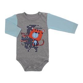 Imagem - Body de Bebê Manga Longa Estampado - 10058-body-ml-mescla-azul-bebe-tigr