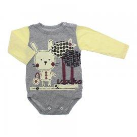 Imagem - Body de Bebê para Menina Estampado Lapuko - 10053-body-ml-mescla-amarelo-coelha
