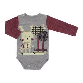 Imagem - Body de Bebê para Menina Estampado Lapuko - 10053-body-ml-mescla-vinho-coelha
