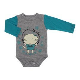 Imagem - Body de Bebê para Menina Estampado Lapuko - 10053-body-ml-mescla-jade-gata