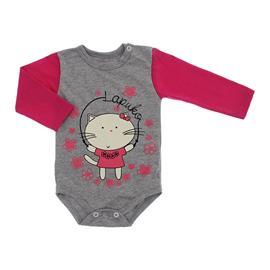 Imagem - Body de Bebê para Menina Estampado Lapuko - 10053-body-ml-mescla-pink-gata