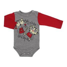 Imagem - Body de Bebê para Menina Estampado Lapuko - 10053-body-ml-mescla-vermelho-gatas