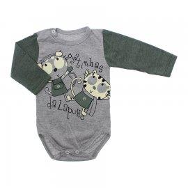 Imagem - Body de Bebê para Menina Estampado Lapuko - 10053-body-ml-mescla-verde-gatinhas