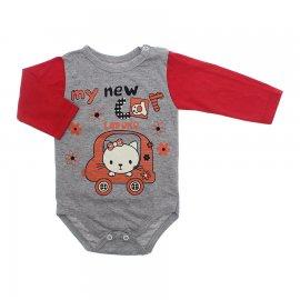 Imagem - Body de Bebê para Menina Estampado Lapuko - 10053-body-ml-mescla-vermelho-mycar
