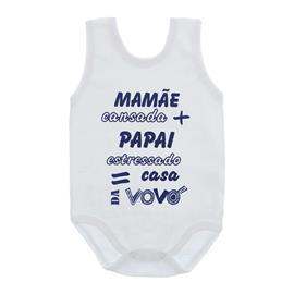 Imagem - Body de Bebê Regata com Frases - 10074-body-regata-casa-vovó-azul