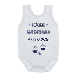 Imagem - Body de Bebê Regata com Frases - 10074-body-regata-madrinha-doce-azu