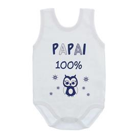 Imagem - Body de Bebê Regata com Frases - 10074-body-regata-papai-100%-azul