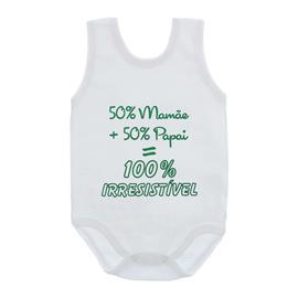 Imagem - Body de Bebê Regata Unissex com Frases - 10075-body-100%-irresistivel-verde
