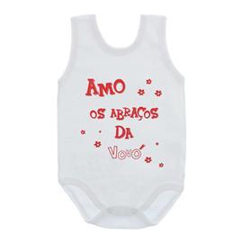 Imagem - Body de Bebê Regata Unissex com Frases - 10075-body-regata-abraços-vovó-verm
