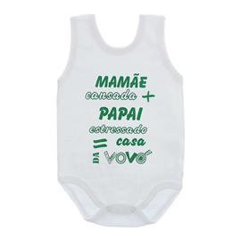 Imagem - Body de Bebê Regata Unissex com Frases - 10075-body-regata-casa-vovó-verde