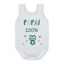 Imagem - Body de Bebê Regata Unissex com Frases - 10075-body-regata-papai-100%-verde