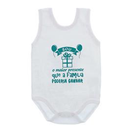 Imagem - Body de Bebê Regata Unissex Frases  - 10075-body-regata-sou-presente-verd