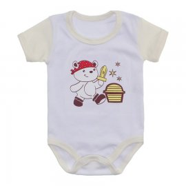 Imagem - Body Bebê Malha Canelada Estampado - 10233-body-mc-menino-pirata-creme
