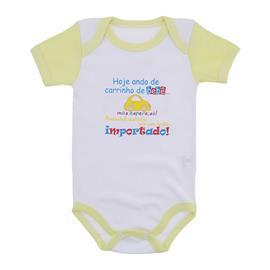 Imagem - Body Bebê Manga Curta Frases Divertidas - 9984-body-mc-amarelo-carro-importad