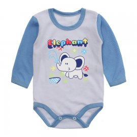 Imagem - Body Manga Longa Canelado Lapuko - 10237-body-ml-elefante-azul-bebe