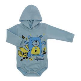 Imagem - Body para Bebê com Capuz de Ribana  - 10054-body-capuz-azul-bebe-amigos
