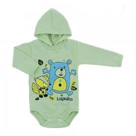 Imagem - Body para Bebê com Capuz de Ribana  - 10054-body-capuz-verde-amigos