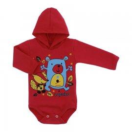 Imagem - Body para Bebê com Capuz de Ribana  - 10054-body-capuz-vermelho-amigos