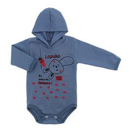 Imagem - Body para Bebê com Capuz de Ribana  - 10054-body-capuz-azul-medio-coelho