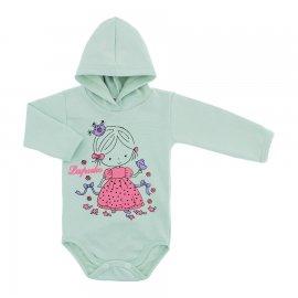 Imagem - Body para Bebê com Capuz de Ribana  - 10055-body-capuz-verde-bebe-princ