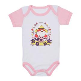 Imagem - Body para Bebê Menina Mangas Coloridas - 9964-body-mc-rosa-florista