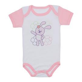 Imagem - Body para Bebê Menina Mangas Coloridas - 9964-body-mc-rosa-florzinhas