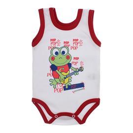 Imagem - Body para Bebê Menino Regata  - 10047-body-regata-bco-vermelho-frog