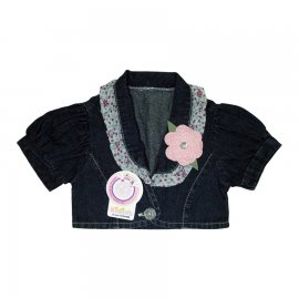 Imagem - Bolero com Flor Infantil - Cod. 4828 - 4828-bolero-jeans-flor-rosa