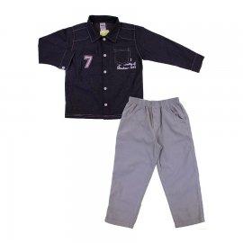 Imagem - Conjunto Infantil Camisa e Calça Cotelê 6684 - 6684cinza