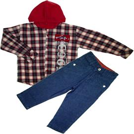Conjunto Infantil Camisa Xadrez e Calça Jeans 5634