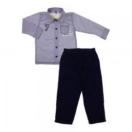 Imagem - Conjunto Infantil Camisa e Calça Cotelê 6684 - 6684-azul