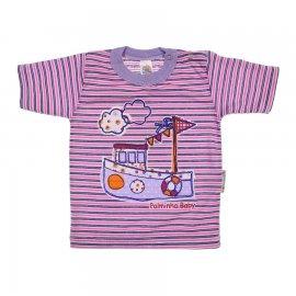 Imagem - Camiseta de Bebê Menina Listrada - 6479-Camiseta de Bebê Menina lilas