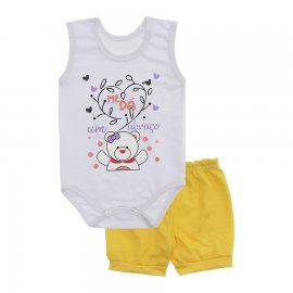 Imagem - Conjunto Bebê de Body Regata e Shorts Lapuko - 10287-regata-short-abraco-amarelo