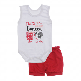 Imagem - Conjunto Bebê de Body Regata e Shorts Lapuko - 10287-regata-short-boneca-vermelho