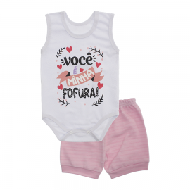 Imagem - Conjunto Bebê de Body Regata e Shorts Lapuko - 10287-regata-short-fofura-rosa