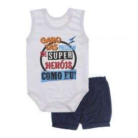 Imagem - Conjunto Bebê de Body Regata e Shorts Lapuko - 10287-conj.regata-herois-marinho