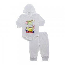 Imagem - Conjunto Body com Capuz e Calça para Bebê - 10136-body-calça-hipopótamo-pandeir