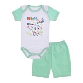 Imagem - Conjunto Body e Short Bebê Menina Lapuko  - 9920-conj-body-shorts-gata-verde