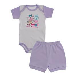 Imagem - Conjunto Body e Short Bebê Menina Lapuko  - 9920-conj-body-short-lilas-vaquinha