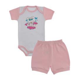 Imagem - Conjunto Body e Short Bebê Menina Lapuko  - 9920-conj-body-short-rosa-coelha